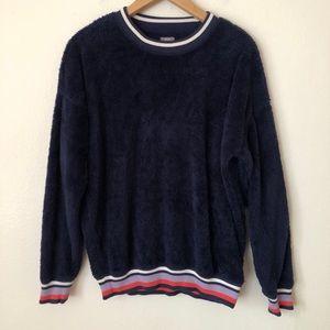 Aerie Blue Cozy Crew Furry Pullover Sweatshirt
